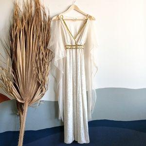 Dresses & Skirts - White Ethereal Roman Princess Velvet Maxi Dress